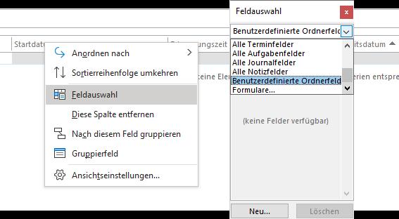 Outlook - benutzerdefinierte Felder anlegen