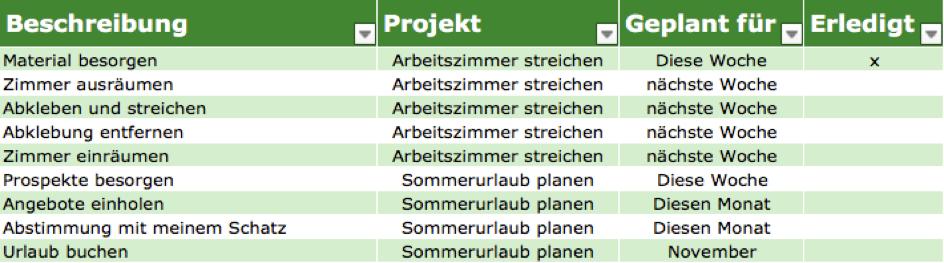 GTD mit Excel - Bild 1
