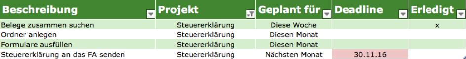 GTD mit Excel - Bild 3