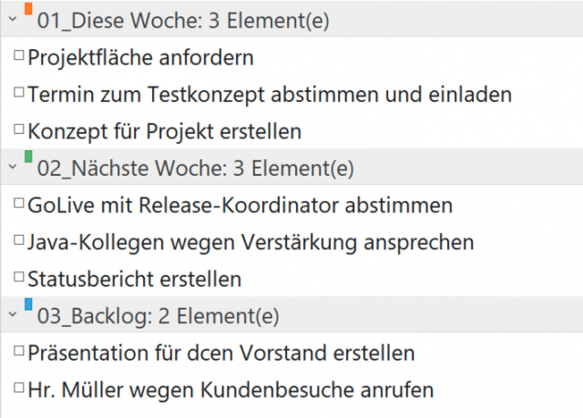 Outlook Aufgaben - Backlog