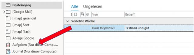 Outlook - Aufgabe aus Email erzeugen