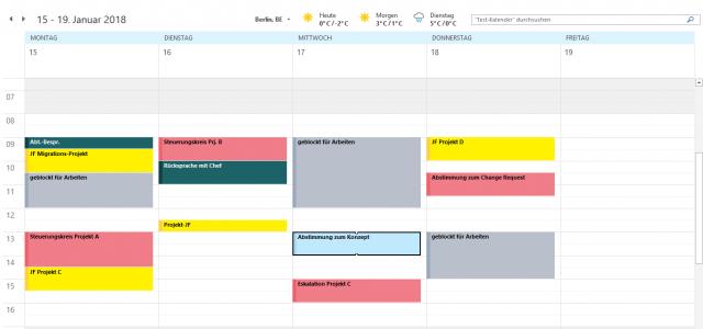 Bild eines dienstlichen Kalenders Beispielwoche mit Kategorien