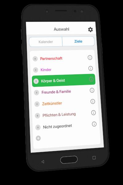 App auf Smartphone - Ziele