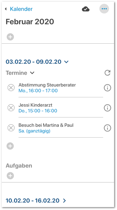 Termine in der App